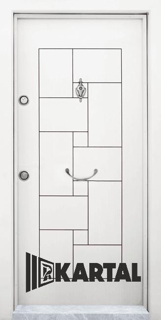 Блиндирана врата Kartal Т-100 цвят Бял Дръжка Полумесец
