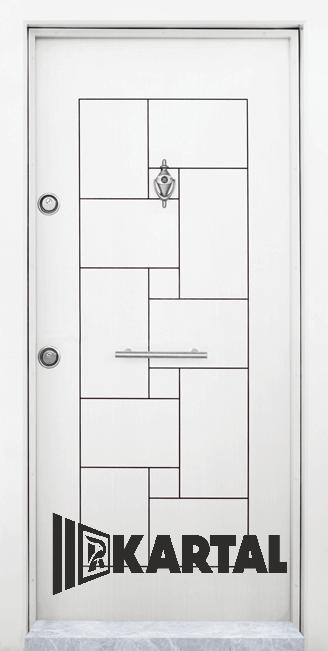Блиндирана врата Kartal Т-100 цвят Бял Дръжка Пура