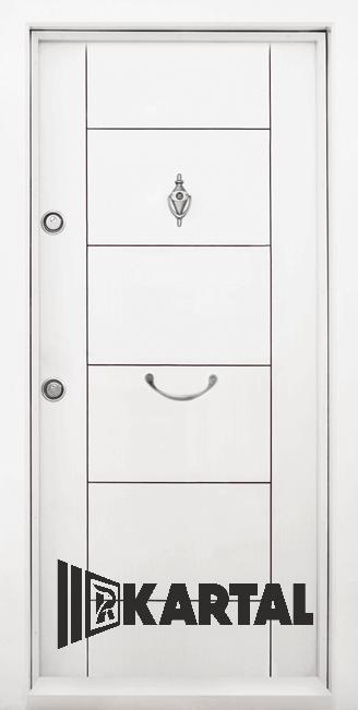 Блиндирана врата Kartal Т-102 цвят Бял Дръжка 2