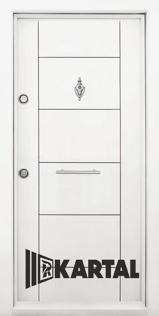 Блиндирана врата Kartal Т-102 цвят Бял Дръжка Пура